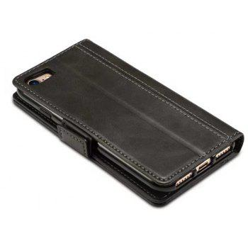 Mixed Colors Cowhide Leather Wallet Case Cover With Card Slots for iPhone 7 / 8 - BLACK