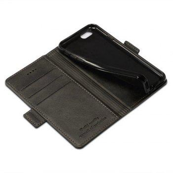 For iPhone 6 / 6s Case Mixed Colors Cowhide Leather Surface Wallet Cover - BLACK