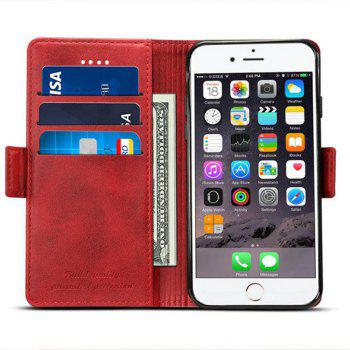 For iPhone 6 / 6s Case Mixed Colors Cowhide Leather Surface Wallet Cover - RED