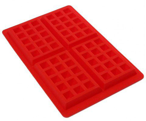 4 Square Waffle Silicone Mold Cookies Cake Chocolate Craft Candy Soap Baking Tool - RED