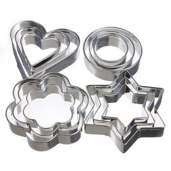 12 Pcs Cake Decorating Fondant Cutters Cookie Biscuit Egg Stainless Steel Mould Baking and Pastry Tools - STAINLESS STEEL