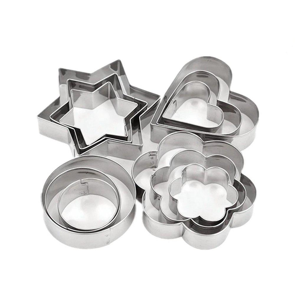 12 Pcs Cake Decorating Fondant Cutters Cookie Biscuit Egg Stainless Steel Mould Baking and Pastry Tools 3pcs stainless steel snowman cookie cutter cake biscuit decorating tool