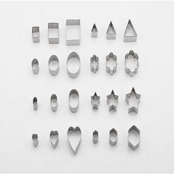 24 Pcs Stainless Steel Cookie Cutter Fondant Fruit Vegetable Molds Biscuit Cake Decorating Gadget - STAINLESS STEEL
