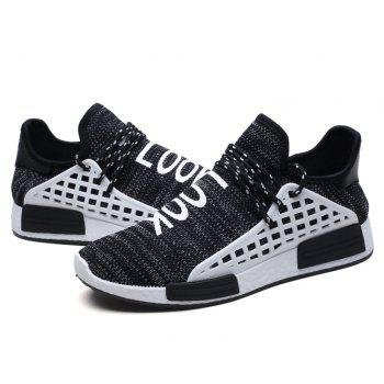 ZEACAVA Summer New Men's Fly Breathable Casual Shoes - BLACK 44