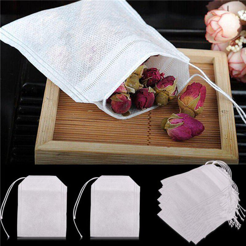 100pcs/Lot New Non-Woven Fabrics Empty Tea Bag with String Heal Filter Paper