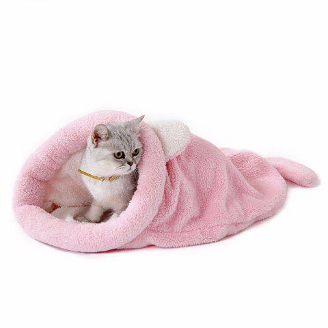 Soft Warm Cat Dog Bed House Sleeping Bag Windproof Pet Puppy Nest Shell Hiding for Winter - PINK SIZE M