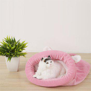 Soft Warm Cat Dog Bed House Sleeping Bag Windproof Pet Puppy Nest Shell Hiding for Winter - PINK SIZE L
