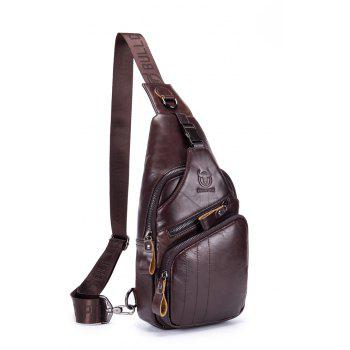 The Young Men'S Leather Chest Baotou Leather Shoulder Messenger Bag Anti-Theft Lock Chest - COFFEE