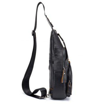 The Young Men'S Leather Chest Baotou Leather Shoulder Messenger Bag Anti-Theft Lock Chest - BLACK
