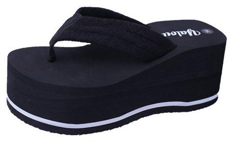 Ms Comfortable Leisure Joker Beach Slippers - BLACK 39