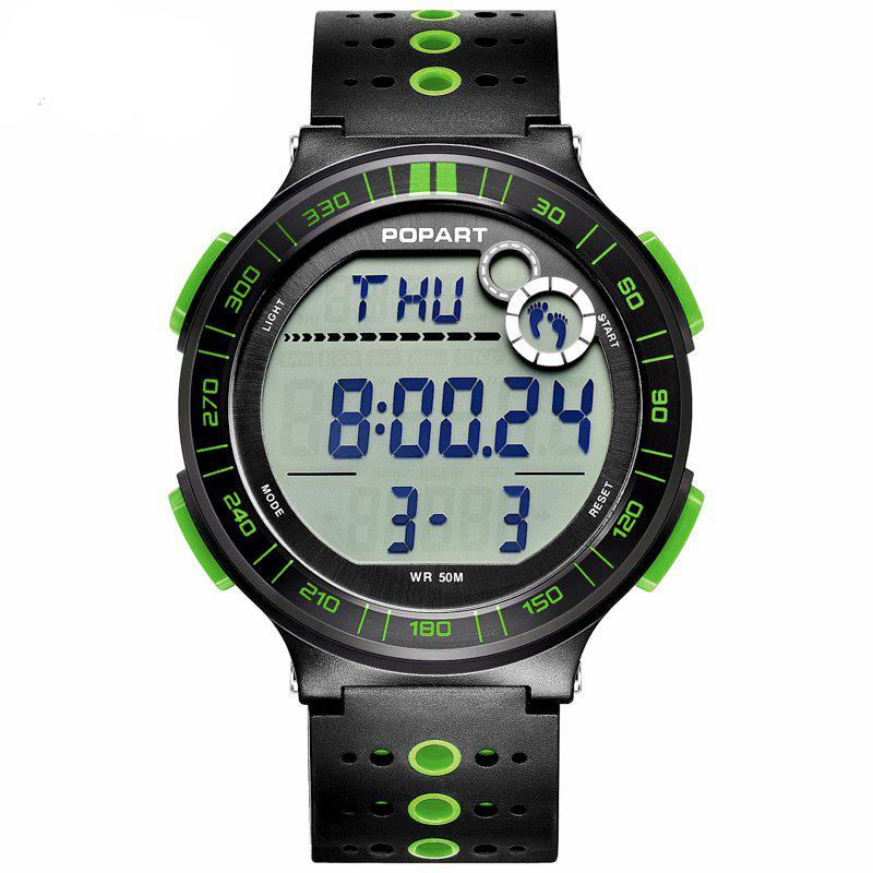 POPART POP-983 Unisex Pedometer Calories Distance Multifunction Digital Watch - YELLOW GREEN