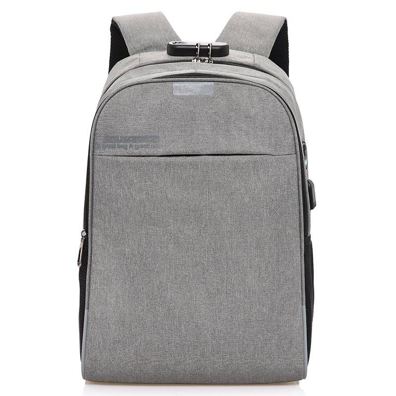 USB Rechargeable Password Lock Travel Backpack - GRAY CLOUD