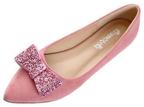 Women Fashion Bowknot Pointed Toe Flats Shoes - PINK 39