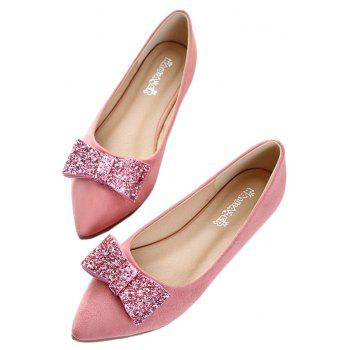 Women Fashion Bowknot Pointed Toe Flats Shoes - PINK 41