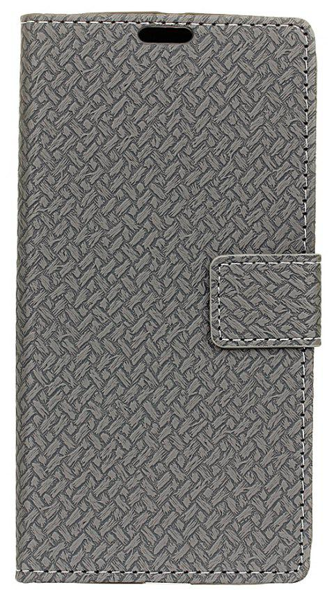 Cover Case For LG K3 2017 Braided Pattern PU Leather Wallet - GRAY