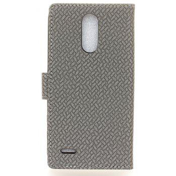 Cover Case For LG K4 2017 Braided Pattern PU Leather Wallet - GRAY