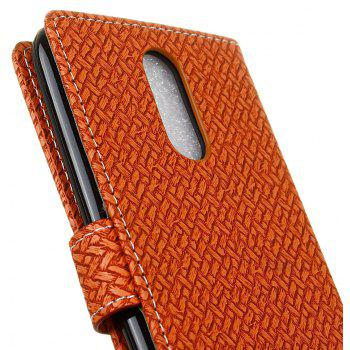 Cover Case For LG Sytlus 3 Braided Pattern PU Leather Wallet - BROWN
