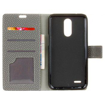 Cover Case For LG Sytlus 3 Braided Pattern PU Leather Wallet - GRAY