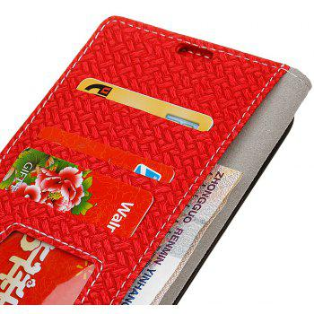 Cover Case For LG Sytlus 3 Braided Pattern PU Leather Wallet - RED