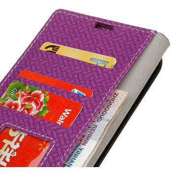 Cover Case For LG Sytlus 3 Braided Pattern PU Leather Wallet - VIOLET