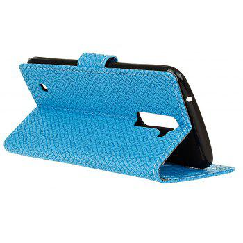 Cover Case For LG Sytlus 2 Braided Pattern PU Leather Wallet - SKY BLUE
