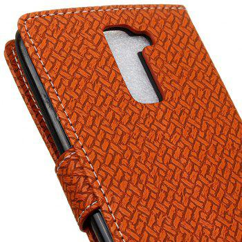 Cover Case For LG Sytlus 2 Braided Pattern PU Leather Wallet - BROWN
