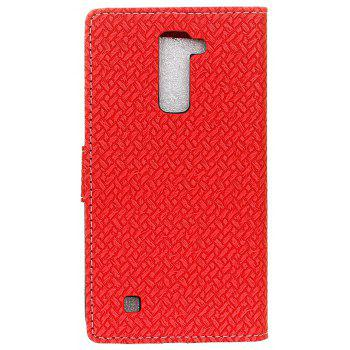 Cover Case For LG Sytlus 2 Braided Pattern PU Leather Wallet - RED