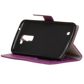 Cover Case For LG Sytlus 2 Braided Pattern PU Leather Wallet - VIOLET