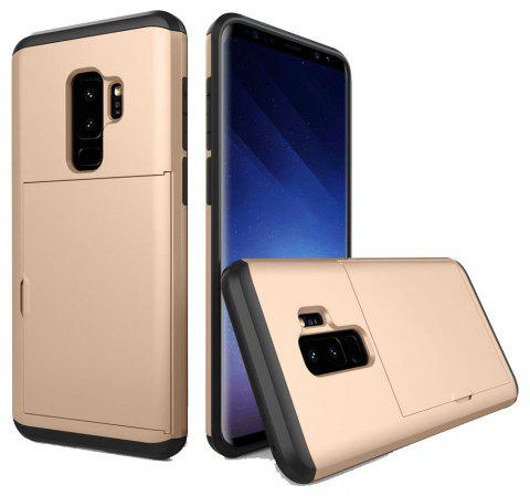 Armor Case for Samsung Galaxy S9 Plus Card Holder Shockproof Bumper Cover - GOLD