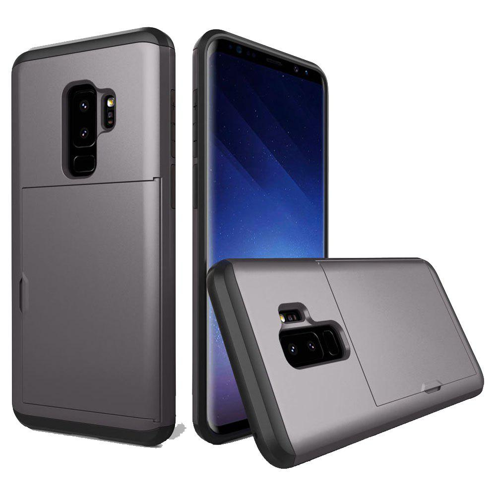 Armor Case for Samsung Galaxy S9 Plus Card Holder Shockproof Bumper Cover - GRAY
