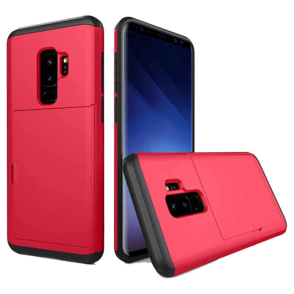 Armor Case for Samsung Galaxy S9 Plus Card Holder Shockproof Bumper Cover - RED