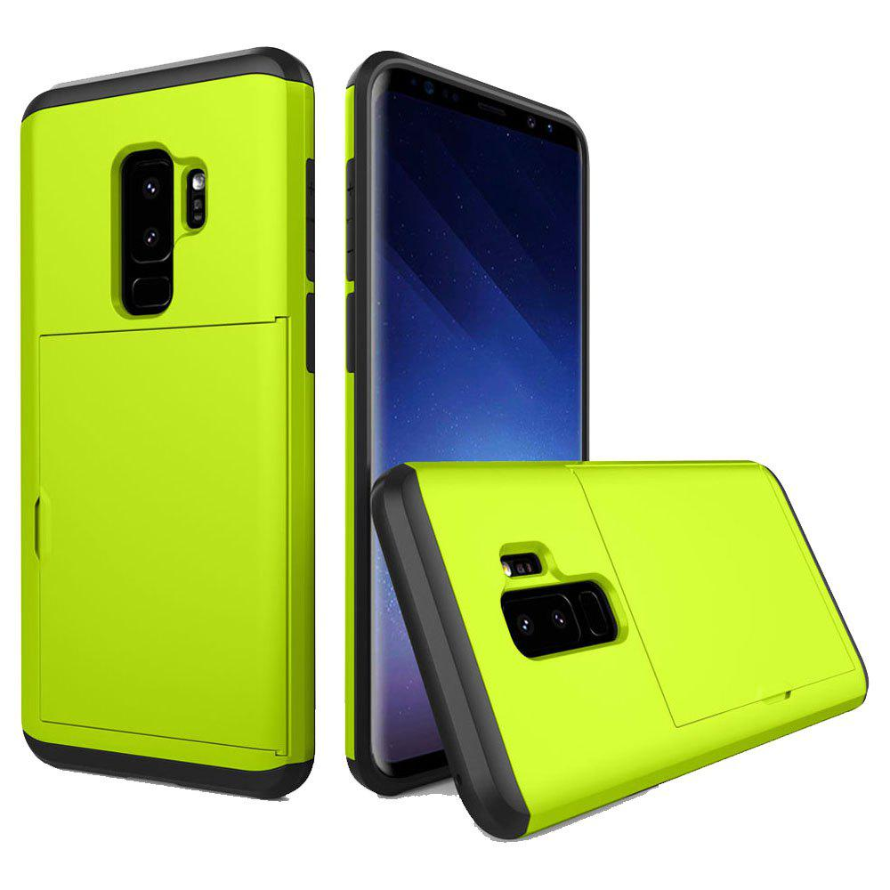 Armor Case for Samsung Galaxy S9 Plus Card Holder Shockproof Bumper Cover - GREEN