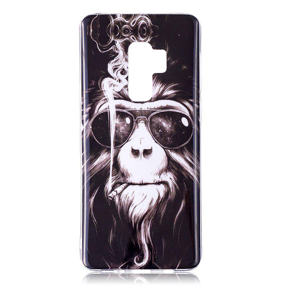 Case for Samsung Galaxy S9 Plus Monkey Pattern Soft TPU Cover - BLACK