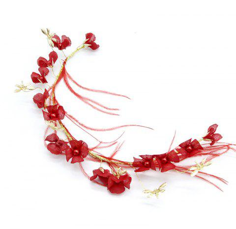 Flower with Feather Headband Hair Jewelry for Women Girl - LOVE RED