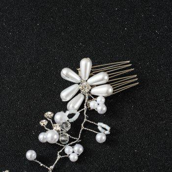 White Bead Crystal Hair Comb Headband for Wedding Bride Hair Jewelry - WHITE