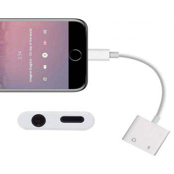 2in1 3.5mm Headphone Audio Headphone Jack Adapter for iPhone X/8/8 Plus/7/ 7 Plus Support iOS 10.3 /iOS 11 and Later - WHITE