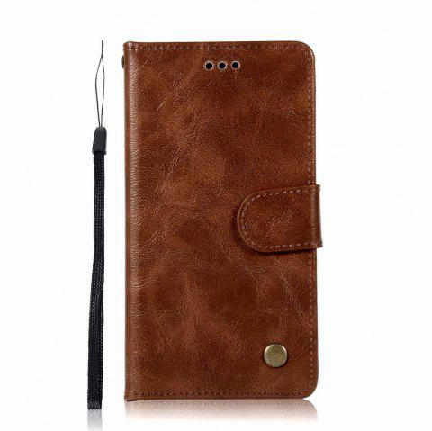 Leather Flip Wallet Case for Lenovo P1M Holer Phone Shell with Lanyard - BROWN