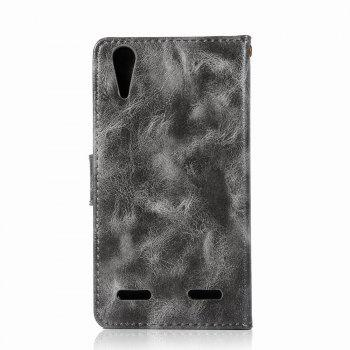 Leather Flip Wallet Case for Lenovo A6000 Holer Phone Shell with Lanyard - GRAY
