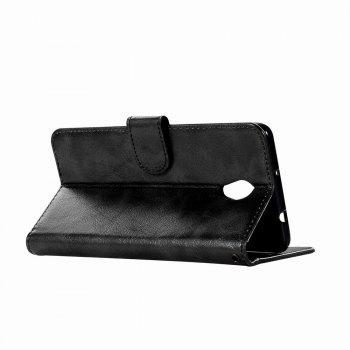 Leather Flip Wallet Case for Lenovo P2 Holer Phone Shell with Lanyard - BLACK