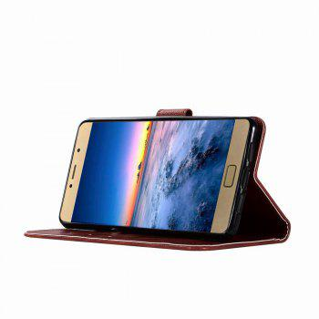 Leather Flip Wallet Case for Lenovo P2 Holer Phone Shell with Lanyard - RED WINE