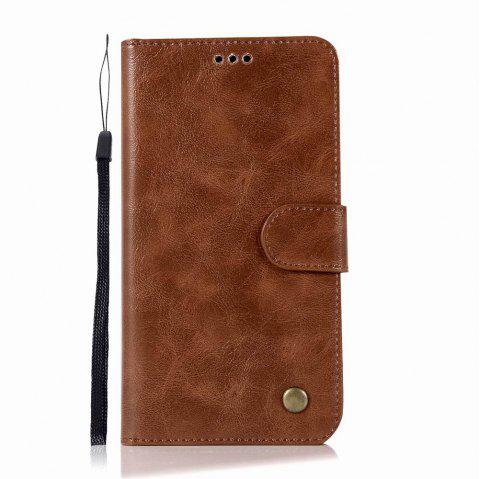 Leather Flip Wallet Case for Lenovo A7010 Holer Phone Shell with Lanyard - BROWN