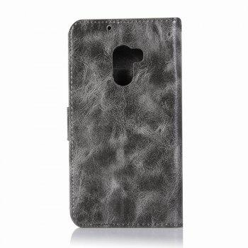 Leather Flip Wallet Case for Lenovo A7010 Holer Phone Shell with Lanyard - GRAY