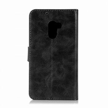 Leather Flip Wallet Case for Lenovo A7010 Holer Phone Shell with Lanyard - BLACK