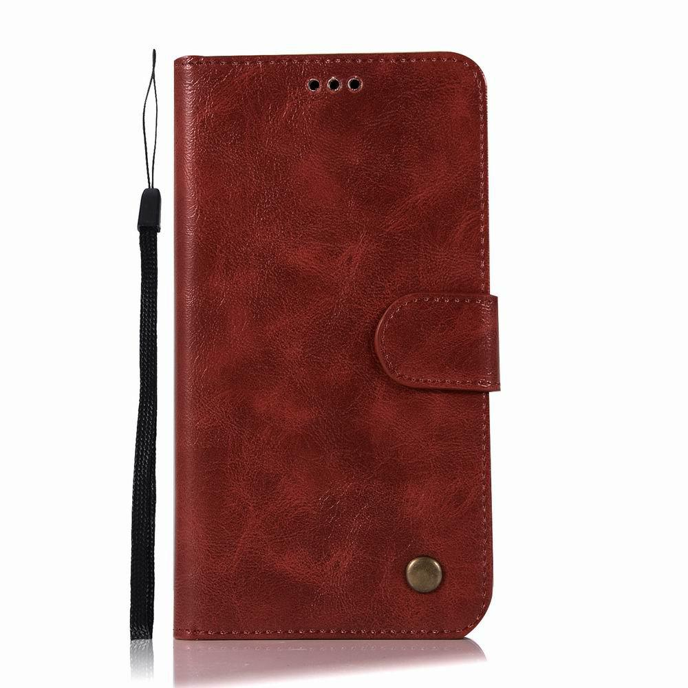 Leather Flip Wallet Case for Lenovo A7010 Holer Phone Shell with Lanyard - RED WINE