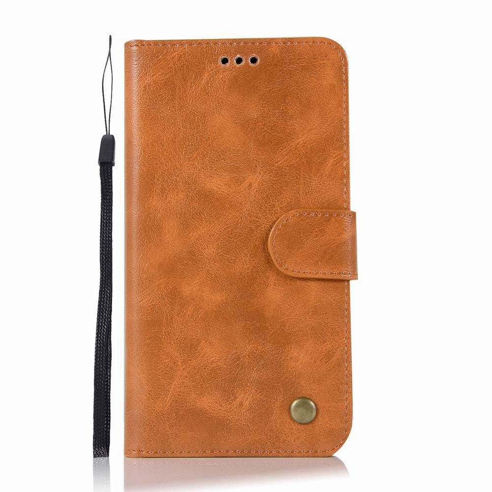 Leather Flip Wallet Case for Lenovo A7010 Holer Phone Shell with Lanyard - GOLDEN BROWN