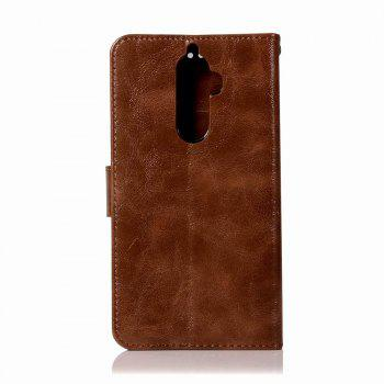 Leather Flip Wallet Case for Lenovo K8 Note Holer Phone Shell with Lanyard - BROWN