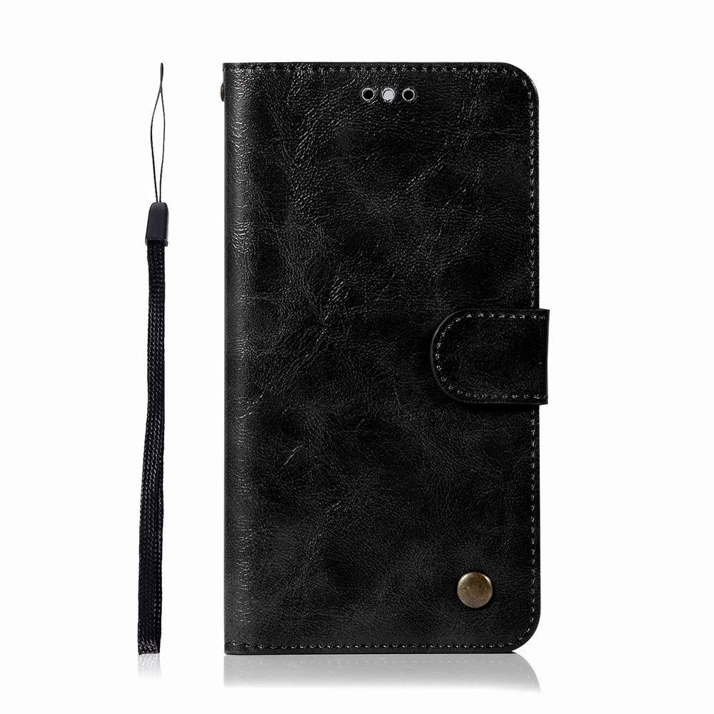 Leather Flip Wallet Case for Lenovo K8 Note Holer Phone Shell with Lanyard - BLACK