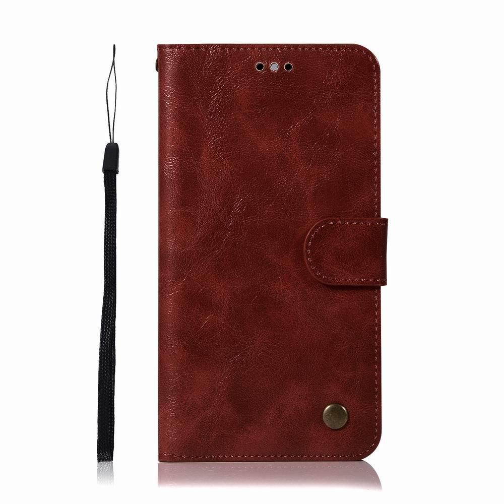 Leather Flip Wallet Case for Lenovo K8 Note Holer Phone Shell with Lanyard - RED WINE
