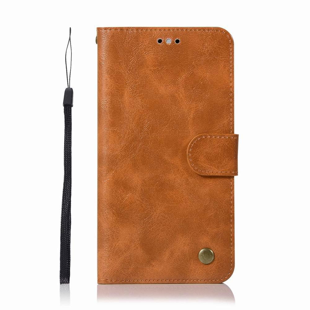 Leather Flip Wallet Case for Lenovo K8 Note Holer Phone Shell with Lanyard - GOLDEN BROWN