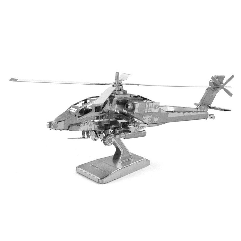 Creative Apache Helicopter 3D Metal High-quality DIY Laser Cut Puzzles Jigsaw Model Toy - SILVER